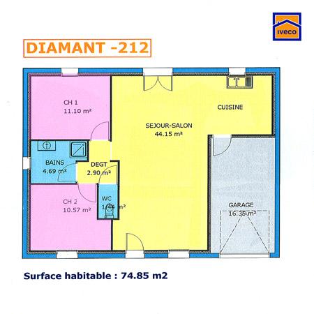 Plans de construction de maison individuelle vend enne - Plan maison plain pied 70m2 ...