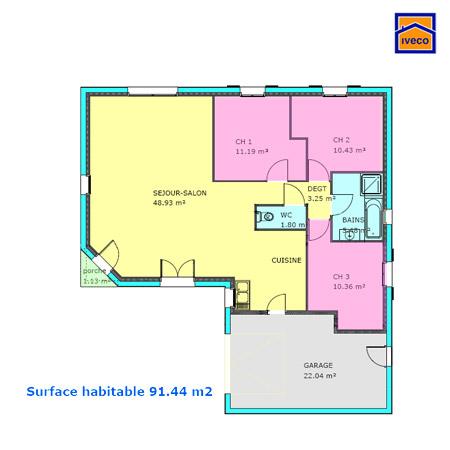 plans de construction de maison individuelle vendenne - Plan Maison 90m2 Plain Pied 3 Chambres